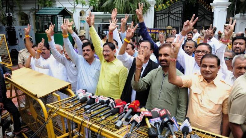 Gujarat Congress MLA's comes out of Rajbhavan after meeting with Governor in Bengaluru