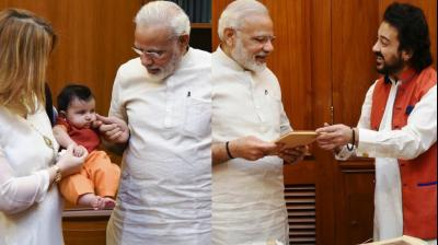 Singer-music composer Adnan Sami visited Prime Minister Narendra Modi at his office in New Delhi with his wife Roya and daughter Medina to share sweets from the holy city of Medina on Friday. (Photo: Instagram)