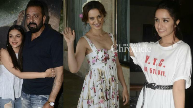 Bollywood stars representing films 'Haseena Parkar', 'Bhoomi' and 'Simran' were spotted as they interacted with media persons for interviews and other promotional activities in Mumbai on Saturday. (Photo: Viral Bhayani)