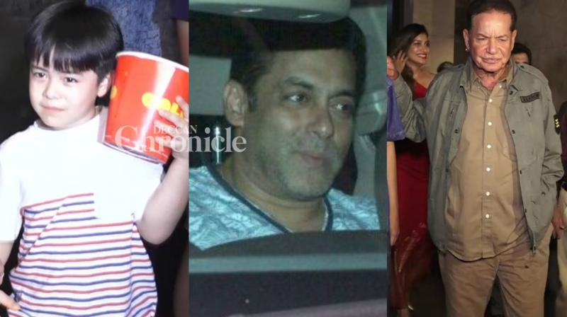 Salman Khan hosted a screening of his upcoming film 'Tubelight' for his co-star Matin Rey Tangu and his father Salim Khan in Mumbai late Wednesday. (Photo: Viral Bhayani)