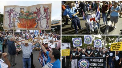 Hundreds of Cuban exiles in Miami rallied on Wednesday for freedom and democracy on the communist island following the death of revolutionary leader Fidel Castro.