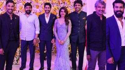 After more than a month after their wedding in Goa, south film stars  Naga Chaitanya and Samantha Ruth Prabhu (now Akkineni) held a reception for stars from the film industry in Hyderabad on Sunday. (Photo: twitter.com/ @baraju_SuperHit/ fan clubs)