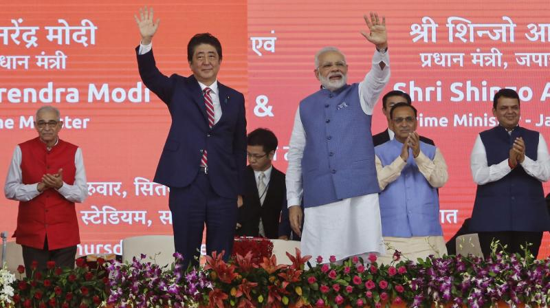 Prime Minister Narendra Modi and his Japanese counterpart Shinzo Abe, who arrived in Ahmedabad on Wednesday on a two-day visit. (Photo: AP)