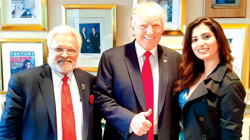 Manasvi Mamgai with her father and US President-elect Donald Trump