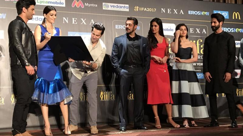 Bollywood stars were snapped at a press conference to kick off the IIFA Awards 2017 being held in New York. (Photo Viral Bhayani)