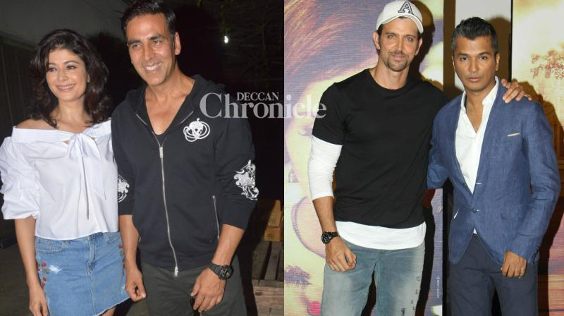 Akshay Kumar and Hrithik Roshan lent their support to two small-budget films, the former attended a screening of Pooja Batra's film 'Mirror Mirror' and the latter launched the trailer of the Marathi film 'Hrudayantar' where he will be seen in a cameo, in Mumbai on Sunday. (Photo: Viral Bhayani)