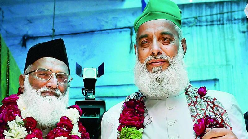 Head priest Syed Asif Nizami (L) and his nephew Nazim Ali Nizami, who went missing in Pakistan last week, in New Delhi on Monday. (Photo: PTI)