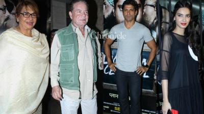 Some of the veteran celebrities of the film industry amd several others turned up at a screening of the film 'Lucknow Central' held in Mumbai on Wednesday. (Photo: Viral Bhayani)
