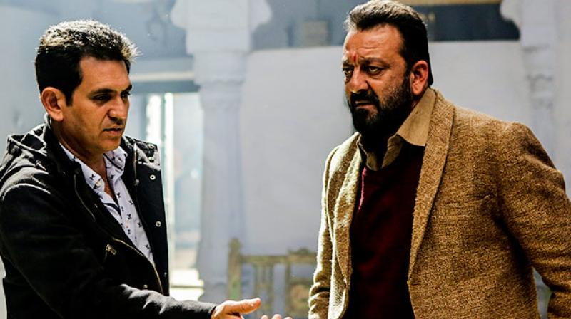Omung Kumar directing Sanjay Dutt on the sets.