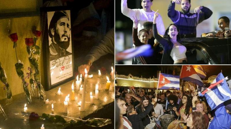 Havana plunged into mourning Saturday and celebrations erupted in Miami at the death of Cuban revolutionary leader Fidel Castro, whose iron-fisted rule defied the United States for a half century. (Photos: AP)
