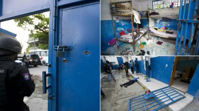 About 174 mostly barefoot inmates overpowered guards on Saturday and escaped from a prison in central Haiti. (Photos: AP)