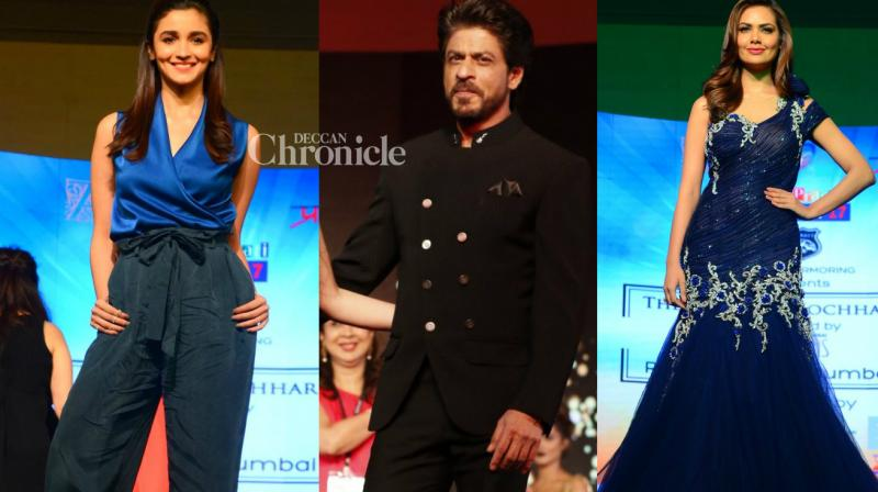 Shah Rukh Khan, Alia Bhatt and Esha Gupta were seen at a fashion show held by fashion designer Archana Kocchar related to the Discon event on Saturday. (Photo: Viral Bhayani)