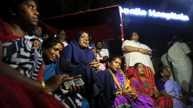 Large numbers of AIADMK supporters thronged Apollo Hospital following information that ailing chief minister and party supremo Jayalalithaa suffered a cardiac arrest on Sunday after days of showing improvement.
