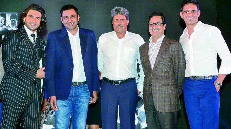 Kapil Dev, and Ranveer Singh and Vishnu Vardhan Induri at the launch of the movie at Mumbai