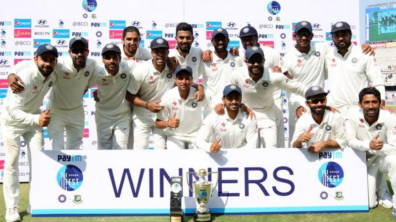 Virat Kohli-led Indian cricket team extended their unbeaten run in Test cricket to 19 games and clinched their sixth consecutive Test series win after securing a 208-run win over Bangladesh in the one-off Test in Hyderabad. Here are some of the top performers fro the Test. (Photo: BCCI)