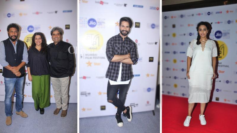 Shahid Kapoor, Vishal Bhardwaj, Shoojit Sircar, Swara Bhaskar, Homi Adajania were some of the celebrities who were spotted at the 18th Jio MAMI Film Festival in Mumbai on Sunday. (Photo: Viral Bhayani)