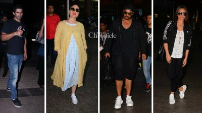 Bollywood celebrities like Kareena Kapoor Khan, Arjun Kapoor and Sonakshi Sinha were snapped at the Mumbai airport, while Aditya Roy Kapur and Kiran Rao were also snapped as they stepped out on Sunday. (Photo: Viral Bhayani)