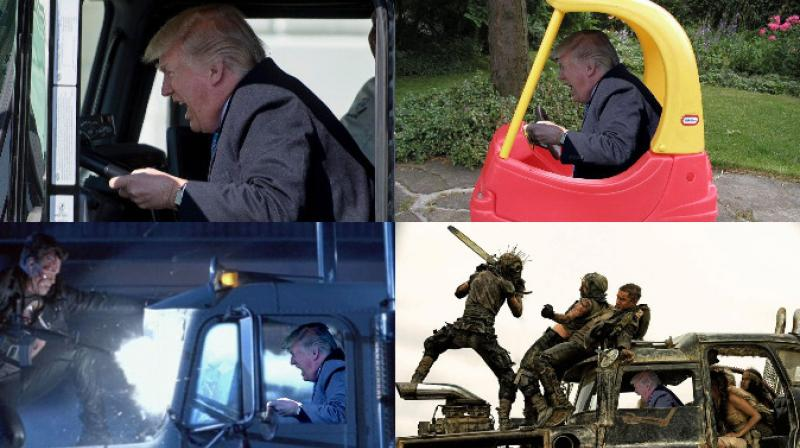 US President Donald Trump welcomed trucking CEO's and driver in a rather interesting way by driving in with an 18-wheeler truck and the Internet had their fun with the picture. (Photo: AFP/Reddit)
