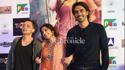 Vidya Balan, Arjun Rampal and Sujoy Ghosh were snapped while inteacting with the media in Delhi on Tuesday. (Photo: Viral Bhayani)