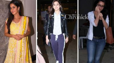 Anushka Sharma, Shraddha Kapoor and Katrina Kaif were spotted at various places in Mumbai on Tuesday. (Photo: Viral Bhayani)