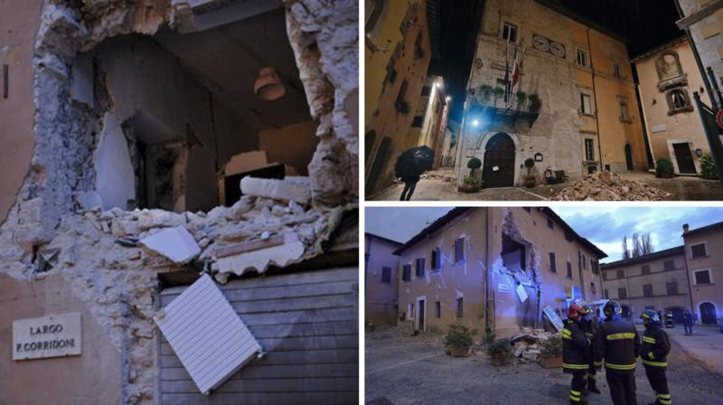 A pair of strong aftershocks shook central Italy late Wednesday, crumbling churches and buildings, knocking out power and sending panicked residents into the rain-drenched streets just two months after a powerful earthquake killed nearly 300 people.