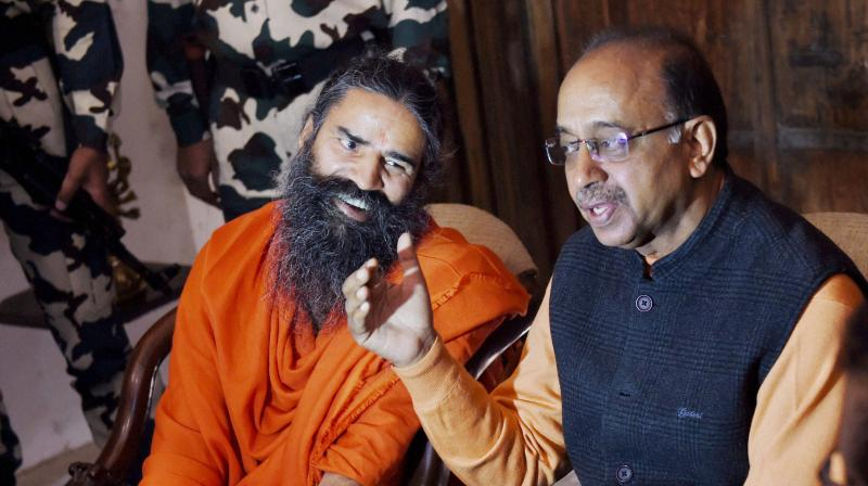 When Baba Ramdev picked up Ranveer Singh during yoga face-off on stage!