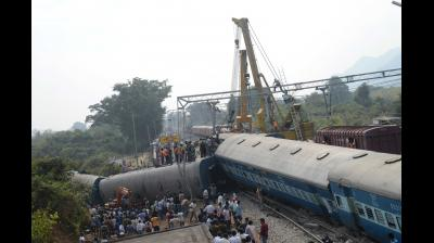 In one of the major railway accidents of the country, Odisha-bound Hirakhand Express derailed on Saturday night in Kuneru of Komarada mandal, Andhra Pradesh, killing 36 and injuring 60. (Photo: PN Murthy)