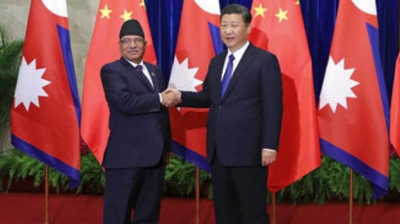 Neapl Prime Minister Pushpa Kamal and Chinese president Xi Jinping (File Photo)