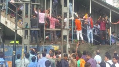 At least 22 people were killed and 39 others were injured in a stampede on a foot overbridge at Elphinstone Road railway station in Mumbai on Friday. (Photo: Congress Twitter)