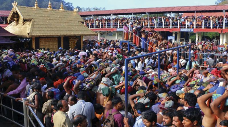 Devotees at Sabarimala.