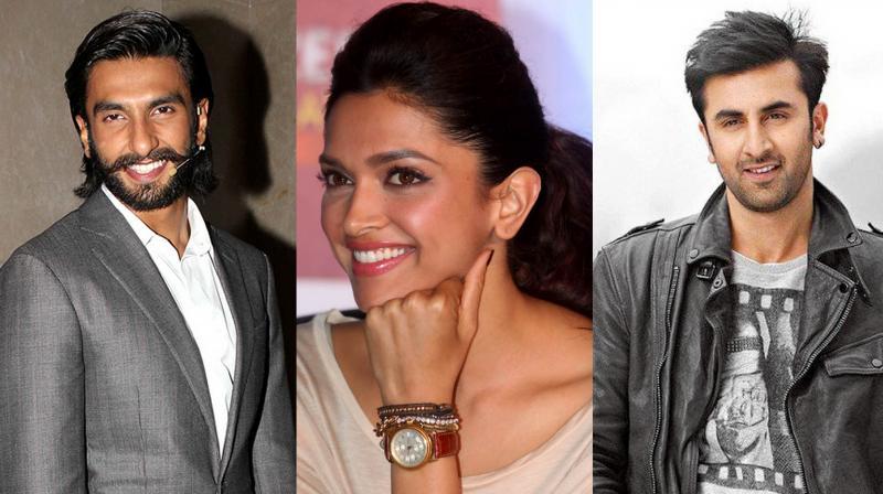 Ranveer Singh, Deepika Padukone and Ranbir Kapoor.