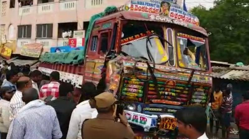 The victims were staging a protest before the police station demanding action against illegal transportation of sand from their areas, when the mishap took place. (Photo: Videograb)