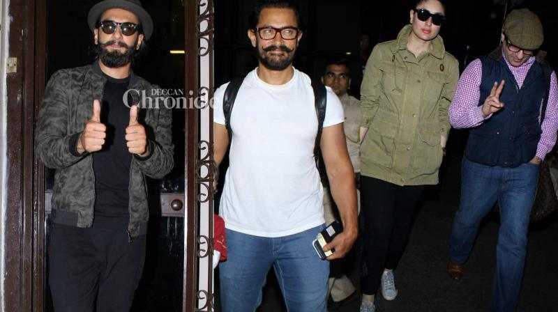 Bollywood stars were spotted by shutterbugs at various locations in Mumbai on Monday. (Photo: Viral Bhayani)