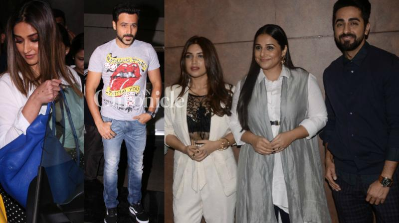 Teams of 'Baashaho' and 'Shubh Mangal Saavdhan', showcased their films to Bollywood stars at separate screenings in Mumbai on Thursday. The films are gearing up for release on Friday. (Photo: Viral Bhayani)