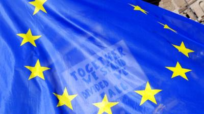 Only few days before Britain is expected to begin its formal separation from the other 27 EU nations, people at the Unite for Europe march were seen with bright blue EU flags. The protest, that demanded Brexit to be reversed, took place on Saturday, March 25, 2017. (Photo: AP)