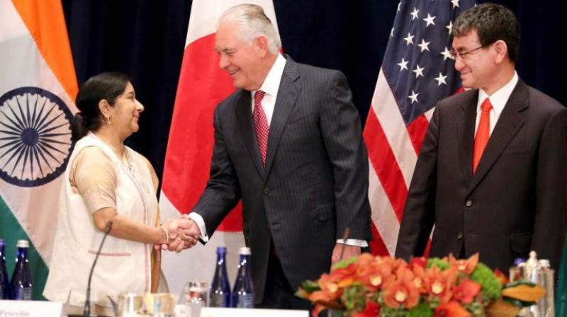 Swaraj's remarks came as she met US Secretary of State Rex Tillerson and her Japanese counterpart Taro Kono yesterday on the sidelines of the ongoing United Nations General Assembly session here. (Photo: MEA)