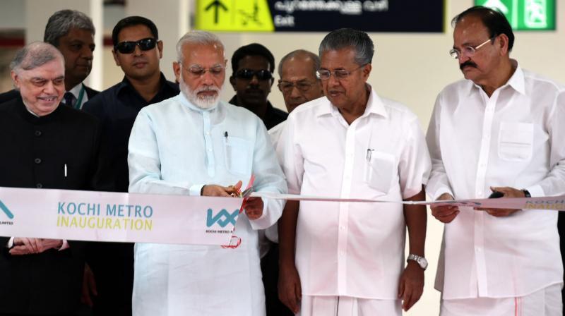 Prime Minister Narendra Modi on Saturday inaugurated the Kochi Metro at Palarivattom in Kerala. (Photo: PIB)