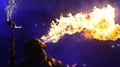 Fire-tamers from several countries showcase their most dangerous tricks for almost two hours at Belarus Fire Festival