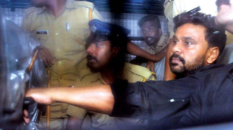 Actor Dileep being brought to Abad Plaza Hotel on MG Road in Kochi on Wednesday evening as part of evidence collection in the actor abduction and assault case. (Photo: SUNOJ NINAN MATHEW)