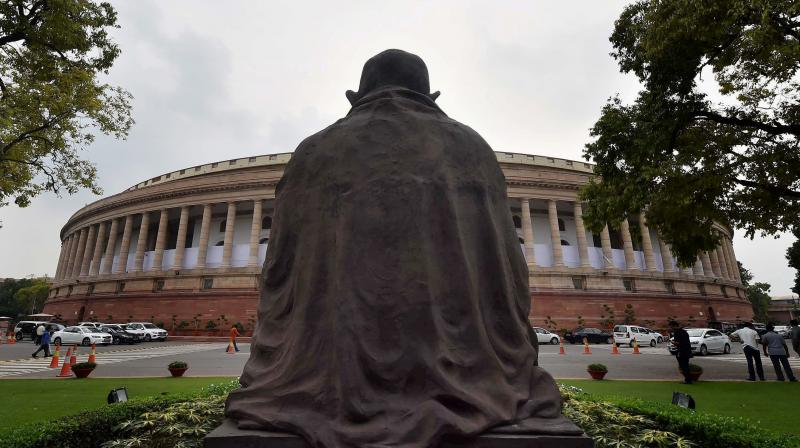 A view of Parliament in New Delhi on Sunday, a day ahead of the monsoon session. (File photo: PTI)