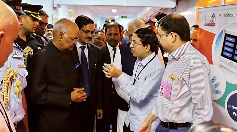 President Ram Nath Kovind at IISc campus in Bengaluru on Tuesday. (Photo: DC)