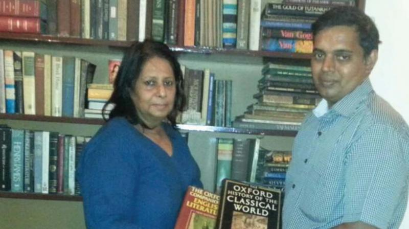 Sujai donating books to libraries in Chennai.