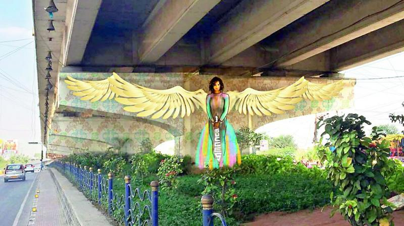 Painting of woman set to come up on a pillar at Hitec City flyover in Hyderabad.
