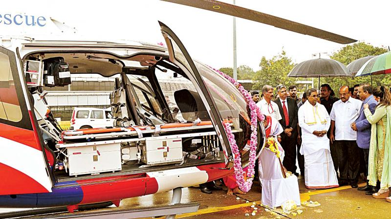 Chief Minister Siddaramaiah launched the air rescue ambulance service at HAL Airport, in Bengaluru on Friday 	(Photo: DC)