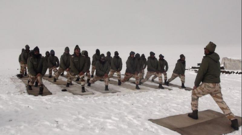 Image result for ITBP in Ladakh on Yoga day 2017