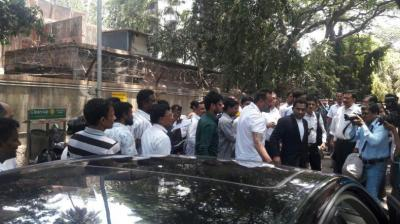 Sanjay Dutt exits from the Andheri Court today after his hearing on the Noorani case.