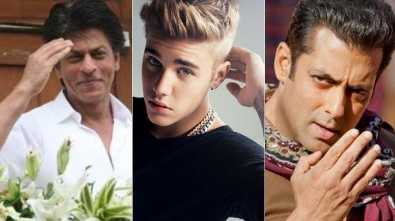 Shah Rukh Khan, Justin Bieber and Salman Khan.