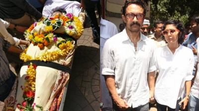 Lagoo's body has been taken from her Andheri residence to the Oshiwara crematorium, where her last rites will be performed.(Pic: Viral Bhayani)