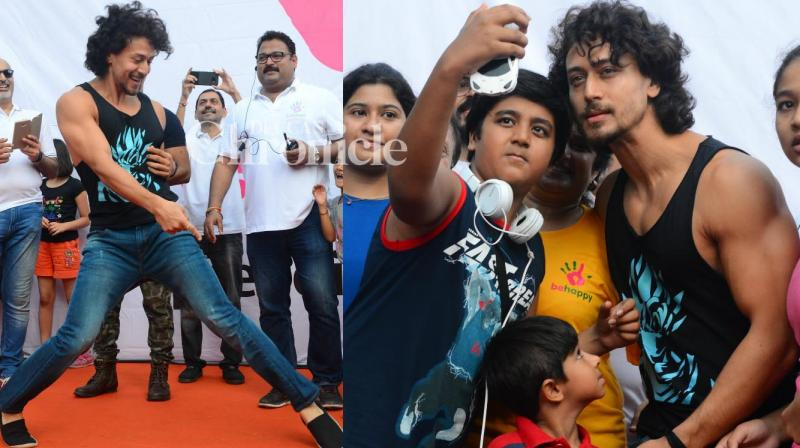 Tiger Shroff was seen at the Lokhandwala Street Festival in Mumbai on Sunday where he interacted and danced with kids. (Photo: Viral Bhayani)