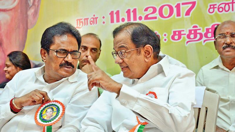 Tamil Nadu Congress Committee president S. Thirunavukarasu and former union minister P. Chidambaram at the birth centenary function of late Maragatham Chandrasekar, veteran Congress leader. (Photo: DC)